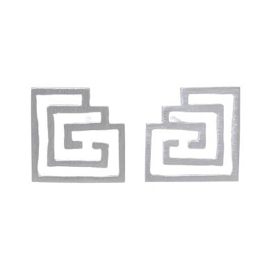 Geometric Openwork Sterling Silver Stud Earrings