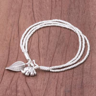 Silver beaded charm bracelet, 'Elephant Leaf' - Elephant-Themed Silver Beaded Charm Bracelet from Thailand