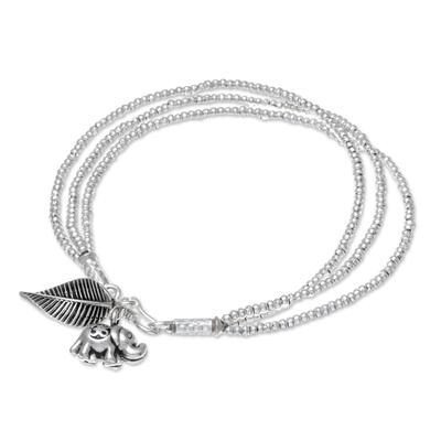 Elephant-Themed Silver Beaded Charm Bracelet from Thailand