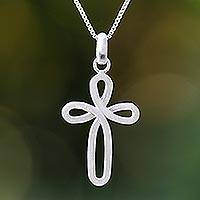 Sterling silver pendant necklace, 'Lucky Cross' - Openwork Sterling Silver Cross Necklace from Thailand