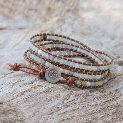 Quartz beaded wrap bracelet, 'Calm Touch' - Om-Themed Quartz Beaded Wrap Bracelet from Thailand