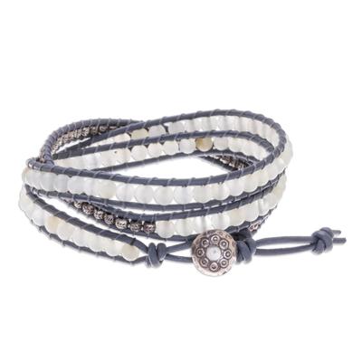 Natural Quartz and Karen Silver Beaded Wrap Bracelet