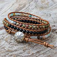 Multi-gemstone beaded wrap bracelet,