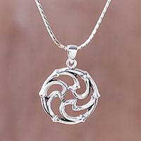 Sterling silver pendant necklace, 'Spiral Wheel' - Intricate Sterling Silver Pendant Necklace from Thailand