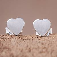 Sterling silver stud earrings, 'Simple Hearts' - Heart-Shaped Sterling Silver Stud Earrings from Thailand