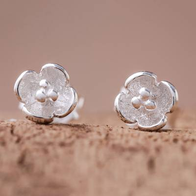 Sterling silver stud earrings, 'Pollinators' - Floral Sterling Silver Stud Earrings Crafted in Thailand