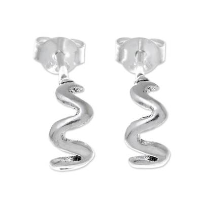 Wavy Sterling Silver Drop Earrings from Thailand