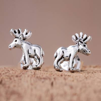 Sterling silver stud earrings, 'Moose' - Sterling Silver Moose Stud Earrings from Thailand