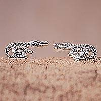 Sterling silver button earrings, 'Mighty Crocodiles' - Sterling Silver Crocodile Button Earrings from Thailand