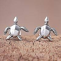 Sterling silver stud earrings, 'Sea Turtle Bliss' - Sterling Silver Sea Turtle Stud Earrings from Thailand
