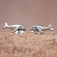 Sterling silver button earrings, 'Whale Twins' - Sterling Silver Whale Button Earrings from Thailand