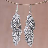 Sterling silver dangle earrings, 'Goldfish Bliss' - Sterling Silver Goldfish Dangle Earrings from Thailand