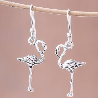 Sterling silver dangle earrings, 'Flamingo' - Sterling Silver Flamingo Dangle Earrings from Thailand