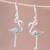 Sterling silver dangle earrings, 'Flamingo' - Sterling Silver Flamingo Dangle Earrings from Thailand thumbail