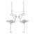 Sterling silver dangle earrings, 'Flamingo' - Sterling Silver Flamingo Dangle Earrings from Thailand (image 2a) thumbail