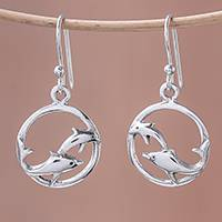 Sterling silver dangle earrings, 'Dolphin Circle' - Sterling Silver Dolphin Dangle Earrings from Thailand