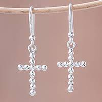 Sterling silver dangle earrings, 'Bubbly Cross' - Bubble Pattern Sterling Silver Cross Earrings from Thailand