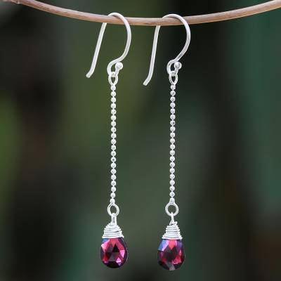 Garnet dangle earrings, 'Gala Sparkle' - Faceted Garnet Dangle Earrings from Thailand