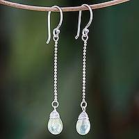 Prehnite dangle earrings, 'Gala Sparkle' - Faceted Prehnite Dangle Earrings from Thailand