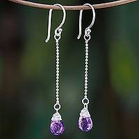 Amethyst dangle earrings, 'Gala Sparkle' - Faceted Amethyst Dangle Earrings from Thailand