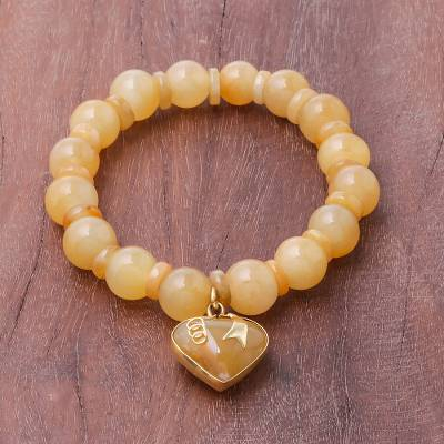 Gold accented quartz beaded stretch bracelet, 'Purest Heart in Yellow' - Gold Accented Quartz Beaded Heart Bracelet in Yellow