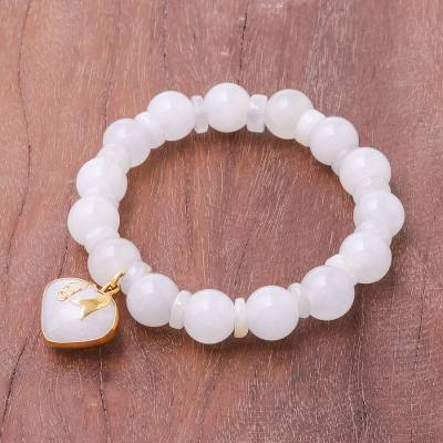 Gold accented quartz beaded stretch bracelet, Purest Heart