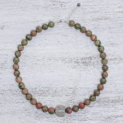 Unakite beaded pendant necklace, 'Natural Mind' - Unakite Beaded Pendant Necklace from Thailand