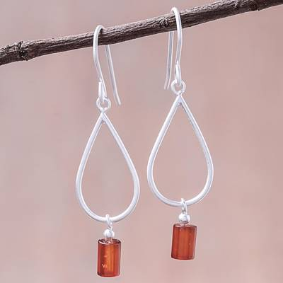 Carnelian dangle earrings, 'Fiery Shower' - Drop-Shaped Carnelian Dangle Earrings from Thailand