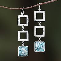 Roman glass dangle earrings, 'Triple Frame' - Square Roman Glass Dangle Earrings from Thailand