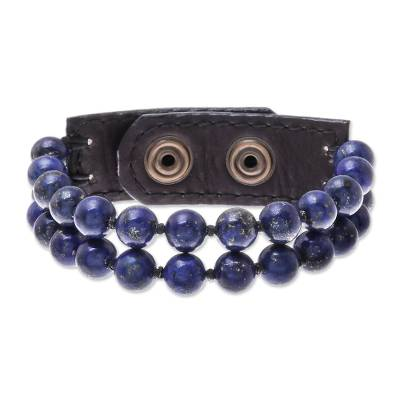 Leather Accented Lapis Lazuli Beaded Bracelet (2-Strand)