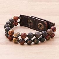 Leather accented jasper beaded bracelet, 'Nature's Mood' - Leather Accented Jasper Beaded Bracelet (2-Strand)