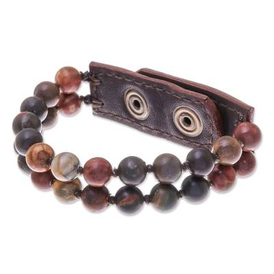 Leather Accented Jasper Beaded Bracelet (2-Strand)