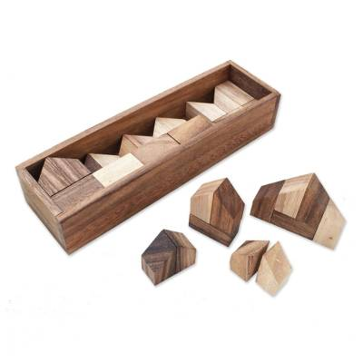 Raintree Wood City Builder Game from Thailand (37 Piece)