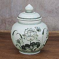Celadon ceramic vase, 'Regal Lotus' - Lotus-Themed Celadon Ceramic Vase from Thailand