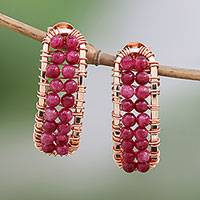 Rose gold plated quartz drop earrings, 'Sunset Skies' - Rose Gold Plated Sterling Silver Dyed Quartz Drop Earrings