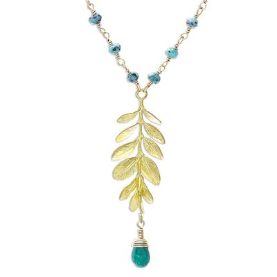 Prehnite and Quartz Link Pendant Necklace from Thailand