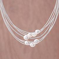 Cultured pearl pendant necklace, 'Luminous Pebbles in White' - Cultured Pearl Pendant Necklace on White Cord from Thailand