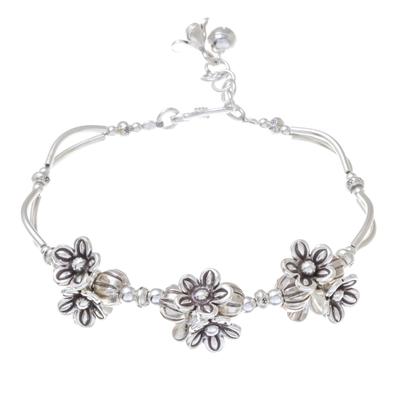Floral Karen Silver Beaded Pendant Bracelet from Thailand