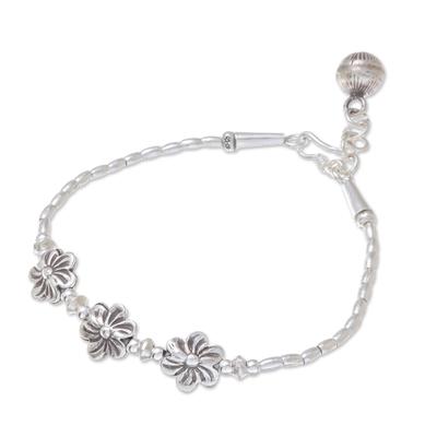 Floral Karen Silver Beaded Bracelet from Thailand