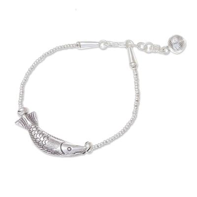 Fish-Themed Karen Silver Beaded Pendant Bracelet