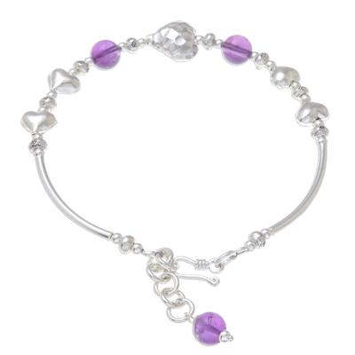Amethyst Heart Beaded Pendant Bracelet from Thailand