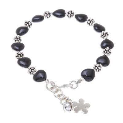 Heart Pattern Onyx Beaded Bracelet from Thailand