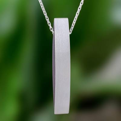 Sterling silver and wood pendant necklace, 'Sophisticated Shape' - Sophisticated Sterling Silver and Wood Necklace