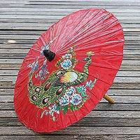 Paper parasol, 'Sunny Peacock in Crimson' - Peacock Motif Paper Parasol in Crimson from Thailand