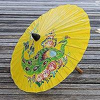 Paper parasol, 'Sunny Peacock in Daffodil' - Peacock Motif Paper Parasol in Daffodil from Thailand