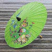 Paper parasol, 'Sunny Peacock in Lime' - Peacock Motif Paper Parasol in Lime from Thailand