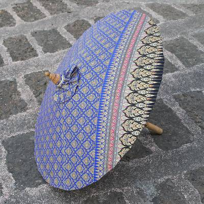 Cotton parasol, 'Thai Royalty in Blue' - Printed Cotton Parasol in Blue from Thailand