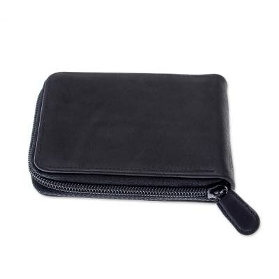 Handmade Leather Wallet in Black from Thailand
