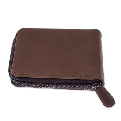 Handmade Leather Wallet in Chestnut from Thailand