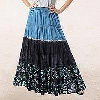 Batik cotton skirt, 'Boho Batik in Teal' - Batik Cotton Skirt in Teal and Onyx from Thailand